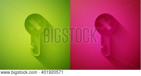 Paper Cut Wrong Key Icon Isolated On Green And Pink Background. Paper Art Style. Vector Illustration