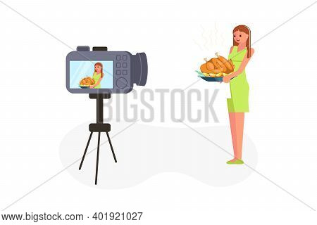 Young Woman Taking A Broadcast For Social Media Network Vector Illustration. Feale Vlogger Makes A L
