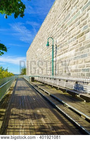 View Of The Walls And The Governors Promenade, In Quebec City, Quebec, Canada