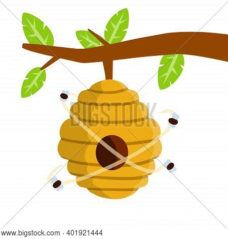 Hive. Yellow Beehive. House Of Wasp And Insect On Tree. Element Of Nature And Forests. Honey Product
