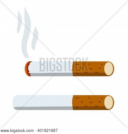 Cigarette. Smoking And A Cigarette Butt With Smoke. Bad Habit. Set Of Horizontal Objects. Flat Carto