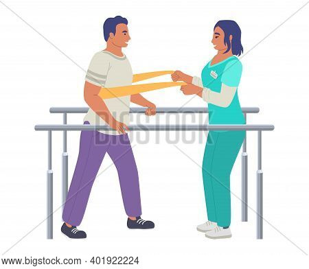 Rehabilitation, Physiotherapy Treatment Of People With Injury, Disability, Flat Vector Illustration.
