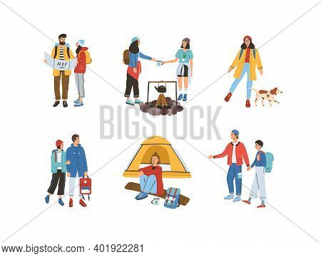Collection Of Different Travelling People Vector Flat Illustration. Set Of Man And Woman Reading Map