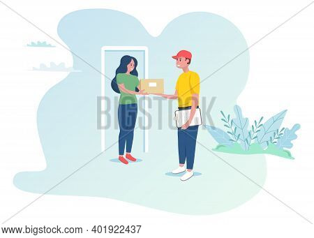 Woman Receives The Parcel From Online Shop. Courier Delivers The Parcel. Fast Shipping At Home. Vect