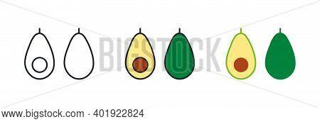 Avocado Icon. Avocado Fruit Whole And Half. Linear Color Icon, Contour, Shape, Outline. Thin Line. M