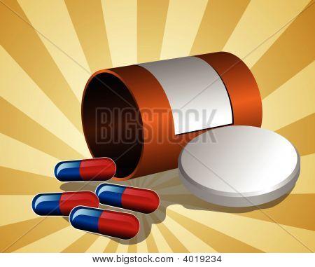 Illustration Of Open Pillbox With Pills
