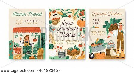 Collection Of Local Products Farmer Market And Harvest Festival Posters Vector Flat Illustration. Se
