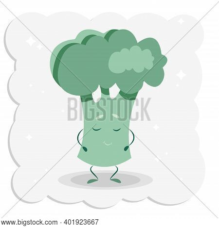 Cute Smiling Broccoli In Cartoon Style. Vector Modern Flat Style Cartoon Character Illustration Icon