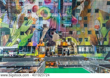 Rotterdam, Netherlands - June, 21 2018: Vibrant Colors On The Ceiling Of The Market Hal. The Market