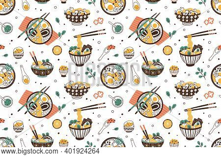 Ramen Soup Hand Drawn Seamless Pattern. Traditional Japanese Dish With Noodles In Bowls Vector Flat