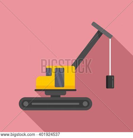 Demolition Excavator Icon. Flat Illustration Of Demolition Excavator Vector Icon For Web Design