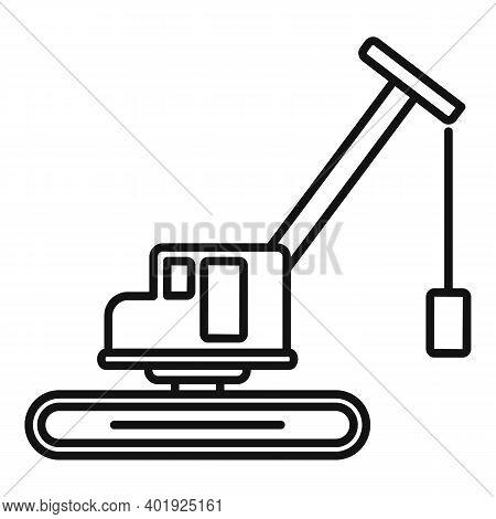 Demolition Excavator Icon. Outline Demolition Excavator Vector Icon For Web Design Isolated On White