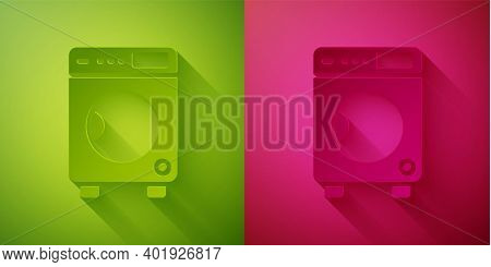 Paper Cut Washer Icon Isolated On Green And Pink Background. Washing Machine Icon. Clothes Washer -
