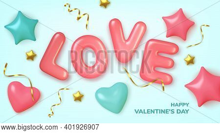 Valentines Day Greeting Card. Realistic 3d Pink Hearts In Tinsel And Balloons Text . Love And Weddin