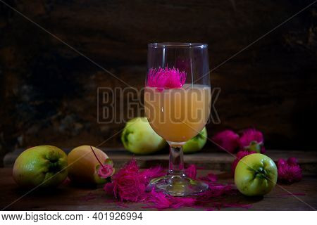 Beautiful Photography Malay Apples Wine On Wooden Table, Fruits Photography, Beautiful Still Life Ph