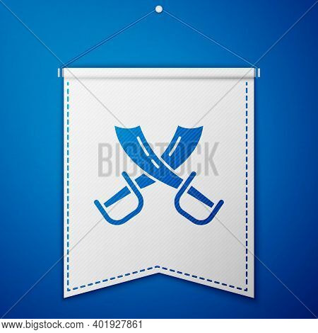 Blue Crossed Pirate Swords Icon Isolated On Blue Background. Sabre Sign. White Pennant Template. Vec