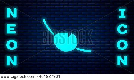 Glowing Neon Pirate Eye Patch Icon Isolated On Brick Wall Background. Pirate Accessory. Vector
