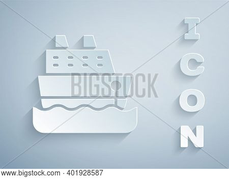 Paper Cut Cruise Ship Icon Isolated On Grey Background. Travel Tourism Nautical Transport. Voyage Pa