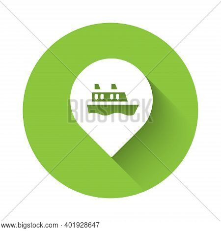 White Location With Cruise Ship Icon Isolated With Long Shadow. Travel Tourism Nautical Transport. V