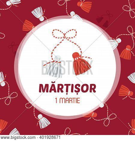 Martisor Vector Card, Illustration. March 1st Holiday Of Spring In Romania And Moldova.