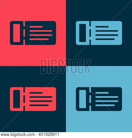 Pop Art Cruise Ticket For Traveling By Ship Icon Isolated On Color Background. Travel By Cruise Line