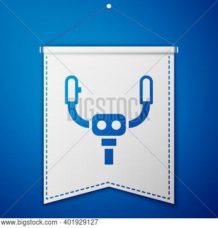 Blue Aircraft Steering Helm Icon Isolated On Blue Background. Aircraft Control Wheel. White Pennant