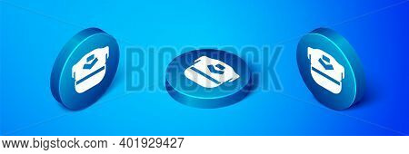 Isometric Pilot Hat Icon Isolated On Blue Background. Blue Circle Button. Vector