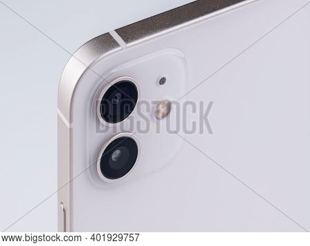 Antalya, Turkey - January 05, 2021: Front And Back View Of New Iphone 12 White Smartphone
