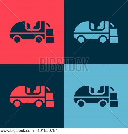 Pop Art Ice Resurfacer Icon Isolated On Color Background. Ice Resurfacing Machine On Rink. Cleaner F