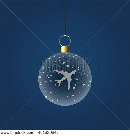 Christmas Ball With A Plane And Snowflakes Inside