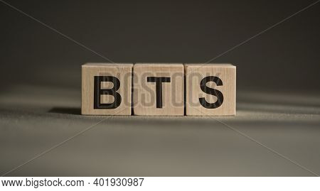 Bts, Text On Wooden Blocks On Gray Background