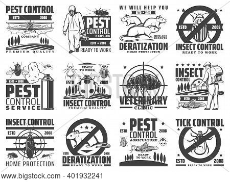Pest Control Service, Rodents And Insects Extermination Icons. Deratization, Insects Extermination A