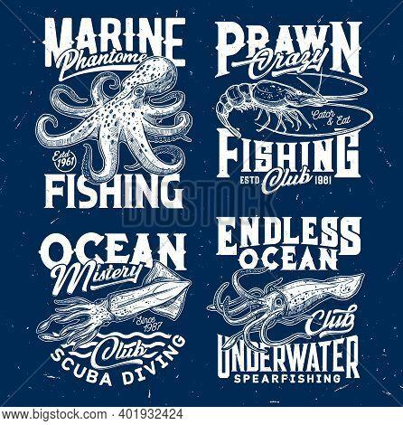Marine Prawn Fishing, Ocean Scuba Diving Club T-shirt Print. Octopus And Prawn Or Shrimp, Squid Or C