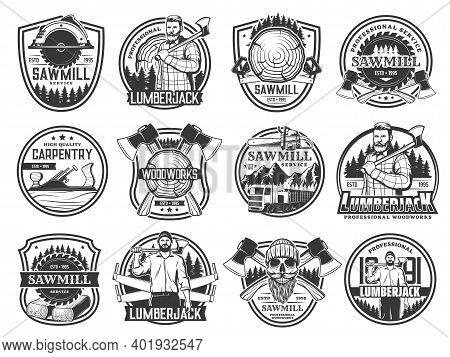 Lumberjack, Lumbering And Logging Wood Forestry, Vector Skull In Hat Icons. Lumberjack Logger Woodwo
