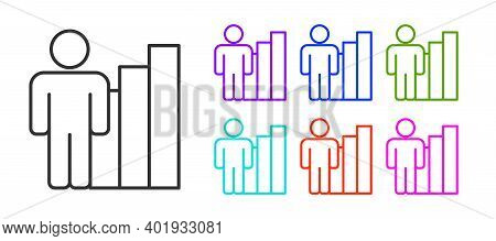 Black Line Productive Human Icon Isolated On White Background. Idea Work, Success, Productivity, Vis