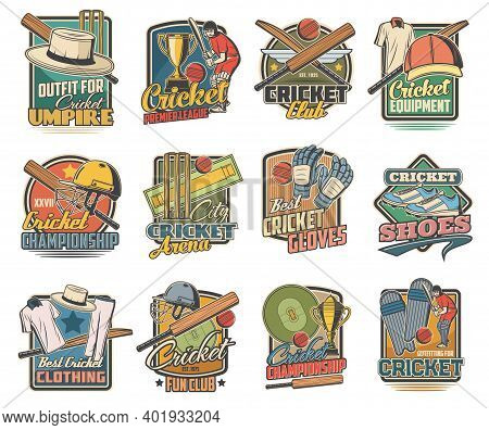 Cricket Game Vector Icons, Field And Sports Equipment And Stadium. Cricket Ball, Bat And Player Unif