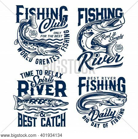 Fishing Club, Fishes T Shirt Prints, Fisher Club Vector Emblems And Water Waves Icons. River Fishing