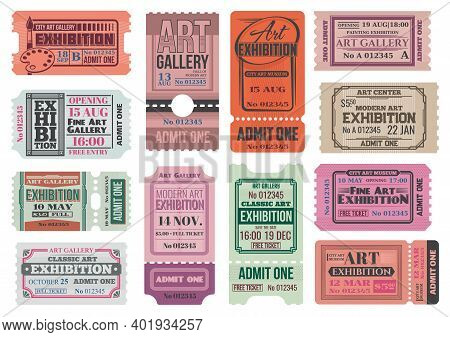 Art Gallery And Museum Exhibition Retro Tickets, Admits Vector Templates. City Museum, Art Center An