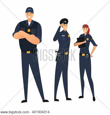 Police Team Isolated On White Background. Police In Uniform. Young Law Enforcement Officers. Protect
