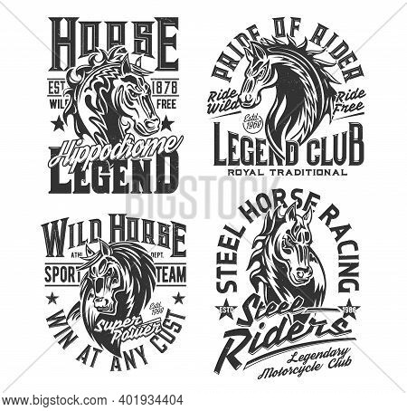 Horse Racing T Shirt Prints, Equestrian Sport And Motorcycle Biker Club Vector Icons. Royal Equestri