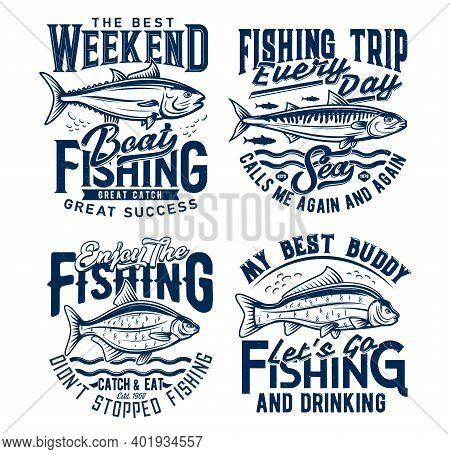 Weekend Fishing Hobby Trip T-shirt Prints. Tuna, Mackerel And Bream, Carp Fishes Engraved Vector. Tr