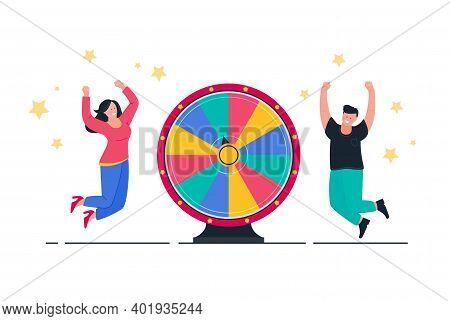 Wheel Of Fortune And Winners Man And Women. Happy People Winner In Casino. Winning Prize, Lottery.