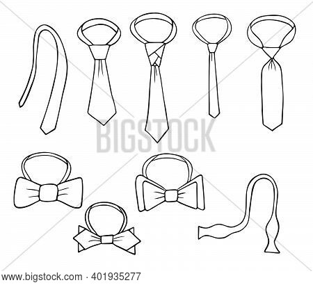 A Set Of Ties. Tied And Untied. Unusual Knots And Different Types. Bow Tie Also Different Types. Out