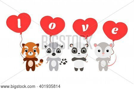 Group Of Cute Animals. Cartoon Panda, Lemur, Opossum, Red Panda Stand And Hold Balloons In Their Han