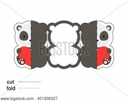 Cute Panda Hold Heart. Fold Long Greeting Card Template. Great For St. Valentine Day, Birthdays, Bab