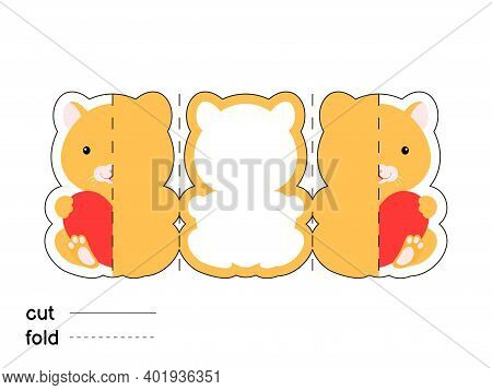 Cute Hamster Hold Heart. Fold Long Greeting Card Template. Great For St. Valentine Day, Birthdays, B