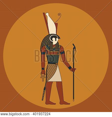 The God Of Heaven And Sun In The Guise Of A Falcon, A Man With The Head Of A Falcon Is The Ancient G