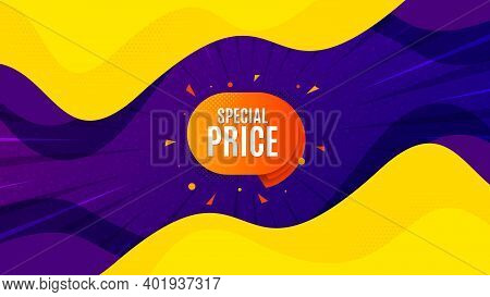 Special Price Sticker. Fluid Liquid Background With Offer Message. Discount Banner Shape. Sale Coupo