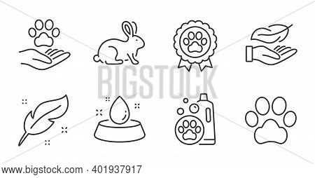 Feather, Animal Tested And Pets Care Line Icons Set. Pet Shampoo, Dog Competition And Lightweight Si