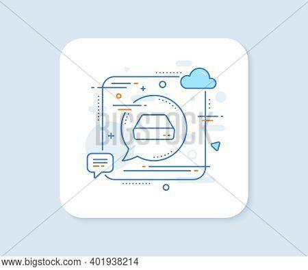 Mini Pc Line Icon. Abstract Square Vector Button. Small Computer Device Sign. Mini Pc Line Icon. Spe